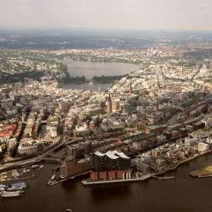 Hamburg Foto aus Hubschrauber